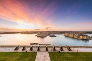 Beautiful sunrise over Three Cities in Malta.